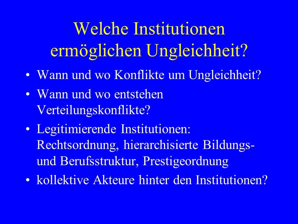 Welche Institutionen ermöglichen Ungleichheit? Wann und wo Konflikte um Ungleichheit? Wann und wo entstehen Verteilungskonflikte? Legitimierende Insti