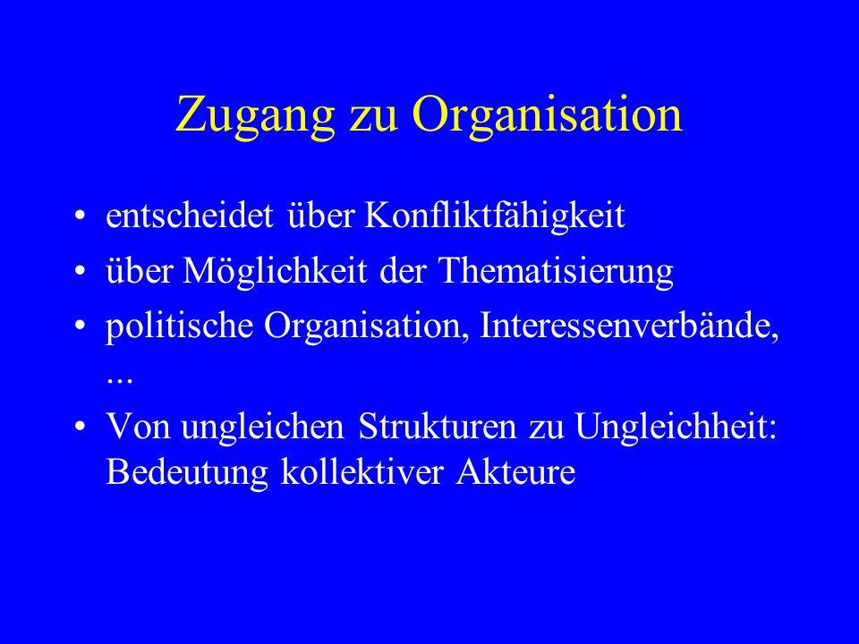 Zugang zu Organisation entscheidet über Konfliktfähigkeit über Möglichkeit der Thematisierung politische Organisation, Interessenverbände,... Von ungl