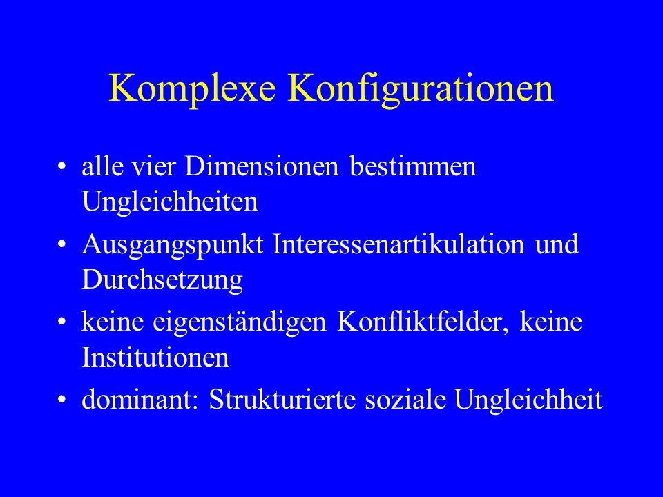 Komplexe Konfigurationen alle vier Dimensionen bestimmen Ungleichheiten Ausgangspunkt Interessenartikulation und Durchsetzung keine eigenständigen Kon