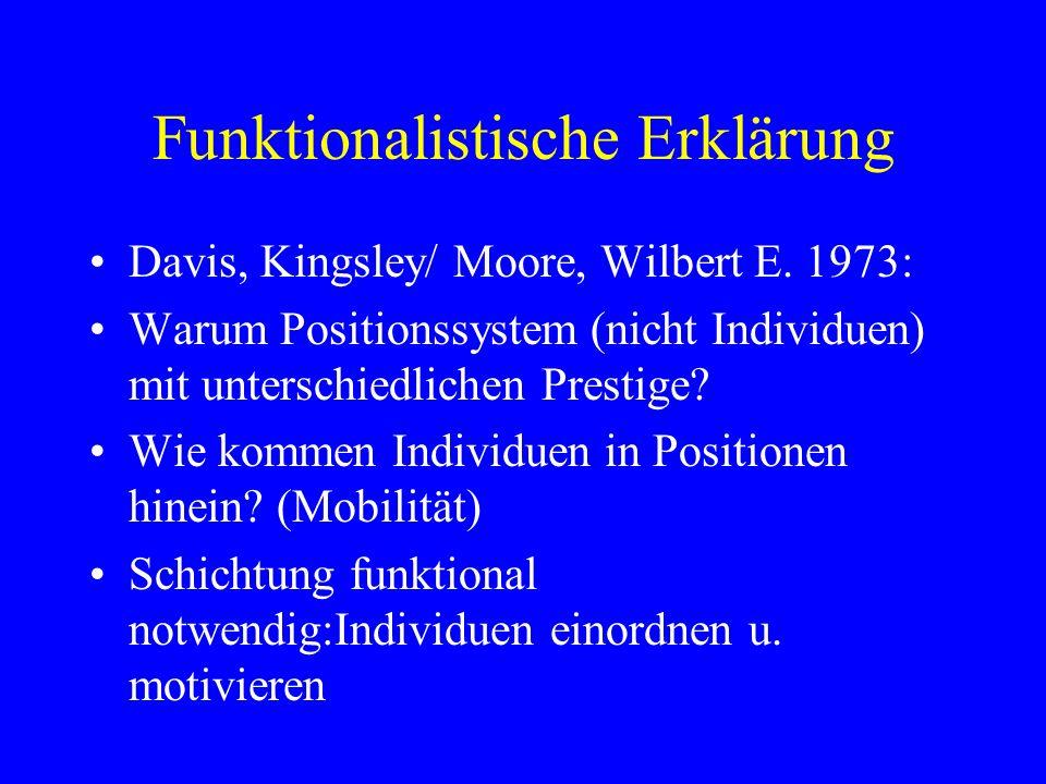 Funktionalistische Erklärung Davis, Kingsley/ Moore, Wilbert E. 1973: Warum Positionssystem (nicht Individuen) mit unterschiedlichen Prestige? Wie kom