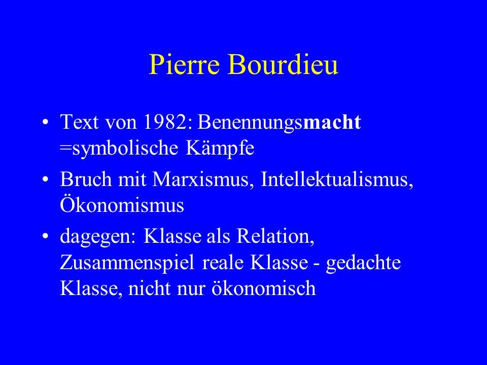 Pierre Bourdieu Text von 1982: Benennungsmacht =symbolische Kämpfe Bruch mit Marxismus, Intellektualismus, Ökonomismus dagegen: Klasse als Relation, Z