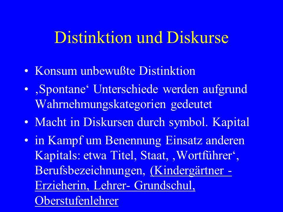 Distinktion und Diskurse Konsum unbewußte Distinktion Spontane Unterschiede werden aufgrund Wahrnehmungskategorien gedeutet Macht in Diskursen durch s
