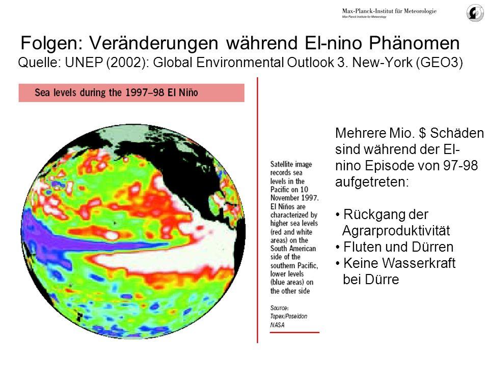 Folgen: Veränderungen während El-nino Phänomen Quelle: UNEP (2002): Global Environmental Outlook 3. New-York (GEO3) Mehrere Mio. $ Schäden sind währen