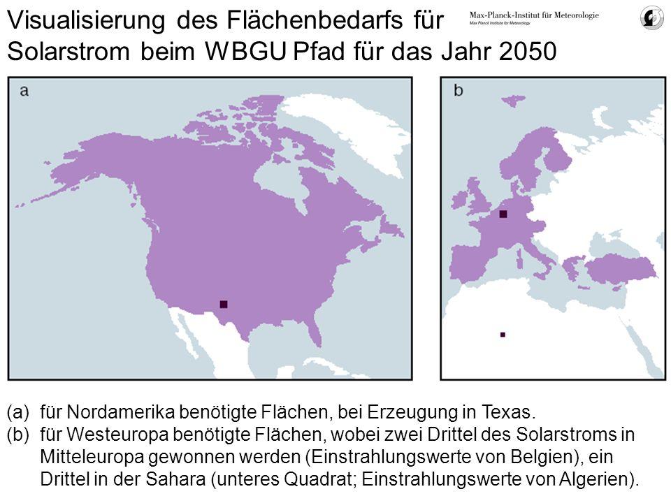 Visualisierung des Flächenbedarfs für Solarstrom beim WBGU Pfad für das Jahr 2050 (a)für Nordamerika benötigte Flächen, bei Erzeugung in Texas. (b)für