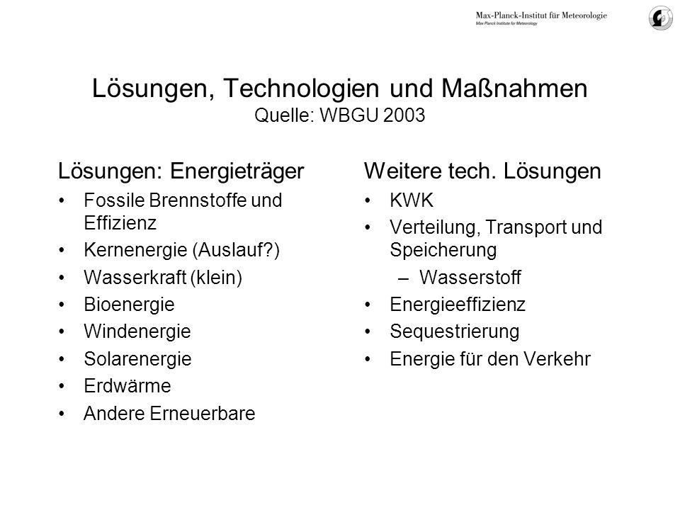 Lösungen, Technologien und Maßnahmen Quelle: WBGU 2003 Lösungen: Energieträger Fossile Brennstoffe und Effizienz Kernenergie (Auslauf?) Wasserkraft (k