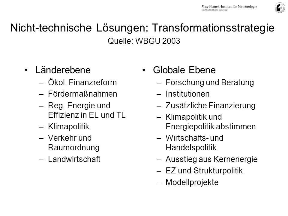 Länderebene –Ökol. Finanzreform –Fördermaßnahmen –Reg. Energie und Effizienz in EL und TL –Klimapolitik –Verkehr und Raumordnung –Landwirtschaft Globa
