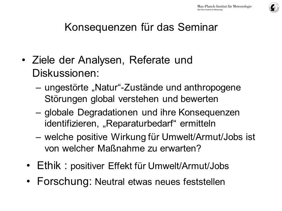 Konsequenzen für das Seminar Ziele der Analysen, Referate und Diskussionen: –ungestörte Natur-Zustände und anthropogene Störungen global verstehen und