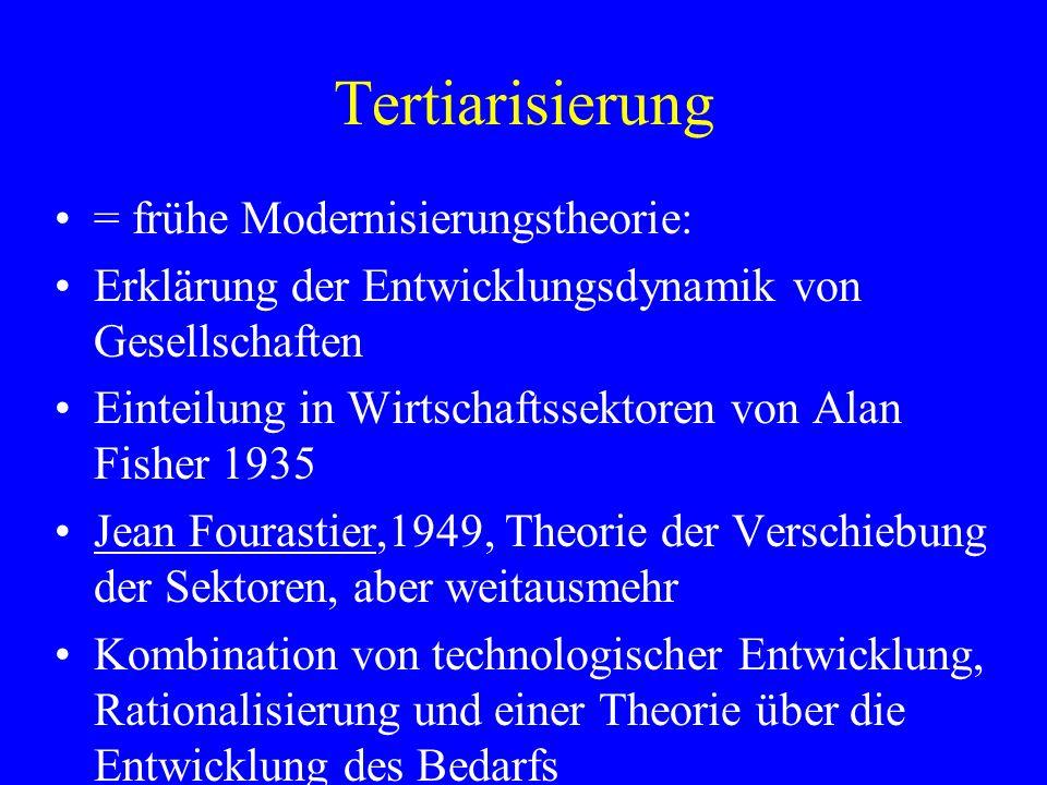 Tertiarisierung = frühe Modernisierungstheorie: Erklärung der Entwicklungsdynamik von Gesellschaften Einteilung in Wirtschaftssektoren von Alan Fisher