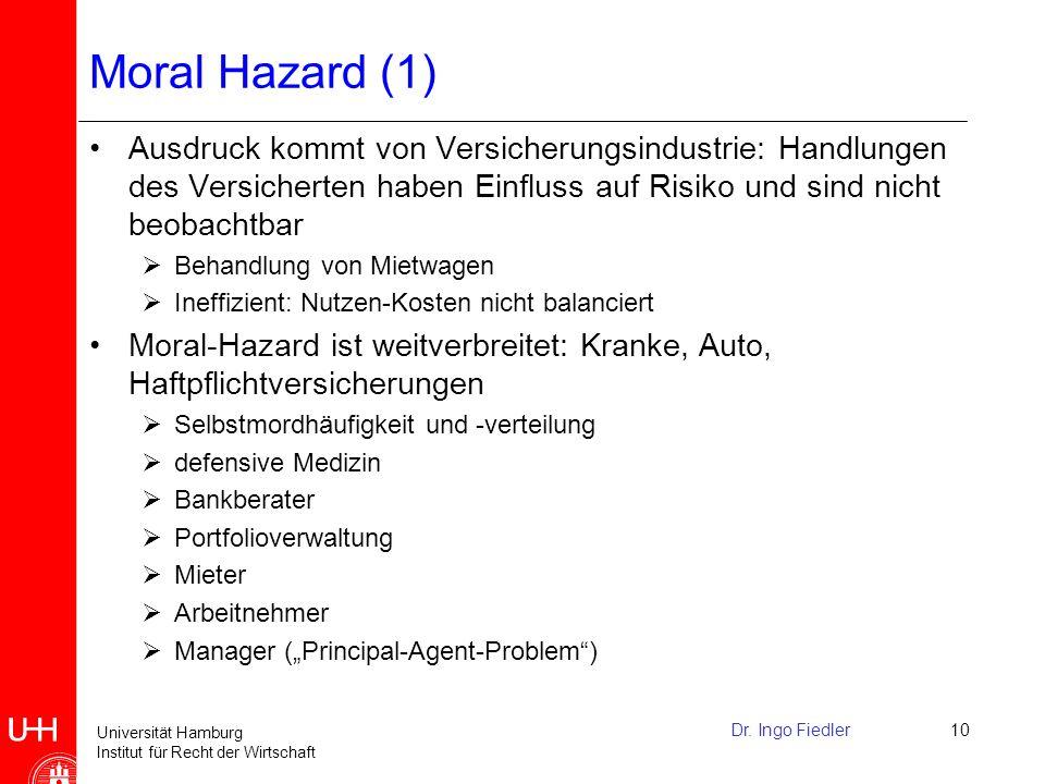 Universität Hamburg Institut für Recht der Wirtschaft Moral Hazard (2) Drei Vorraussetzungen für moral hazard: 1.