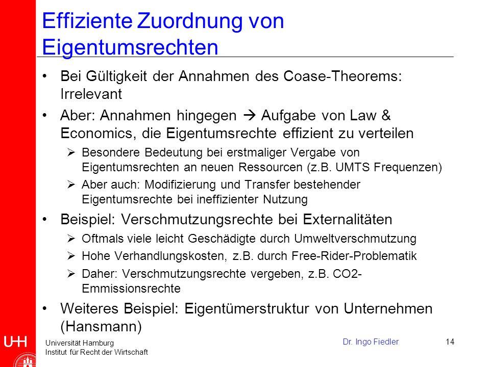 Universität Hamburg Institut für Recht der Wirtschaft Nicht fest definierte Eigentumsrechte: Tragedy of the Commons Viele Personen haben das Recht eine gemeinsame Ressource zu nutzen bzw.