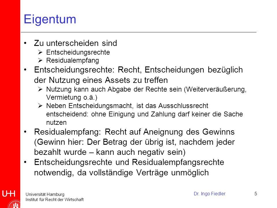 Universität Hamburg Institut für Recht der Wirtschaft Keine vollständigen Verträge möglich.