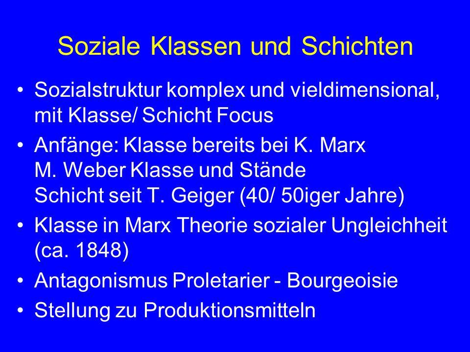 Soziale Klassen und Schichten Sozialstruktur komplex und vieldimensional, mit Klasse/ Schicht Focus Anfänge: Klasse bereits bei K. Marx M. Weber Klass