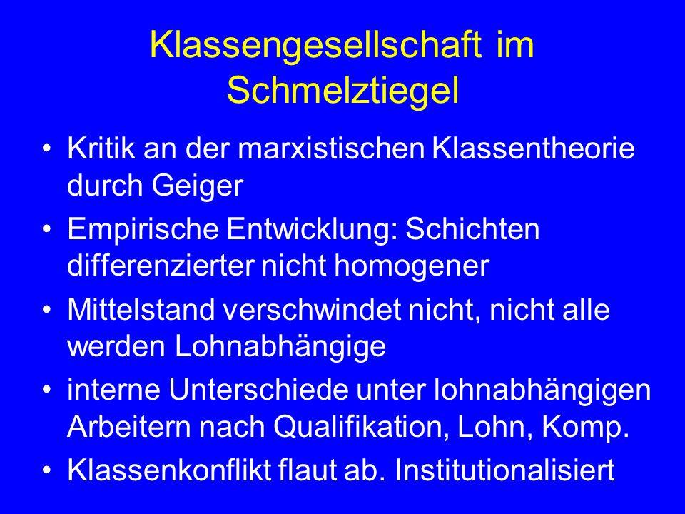 Klassengesellschaft im Schmelztiegel Kritik an der marxistischen Klassentheorie durch Geiger Empirische Entwicklung: Schichten differenzierter nicht h