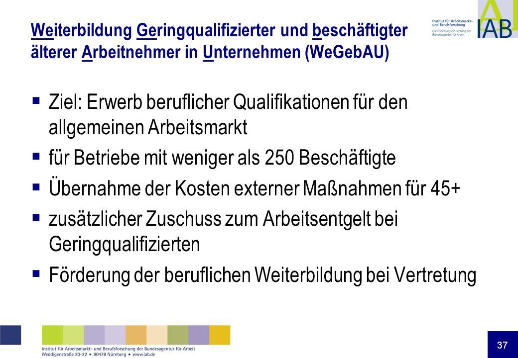 37 Weiterbildung Geringqualifizierter und beschäftigter älterer Arbeitnehmer in Unternehmen (WeGebAU) Ziel: Erwerb beruflicher Qualifikationen für den