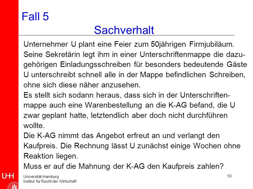 Universität Hamburg Institut für Recht der Wirtschaft 10 Fall 5 Sachverhalt Unternehmer U plant eine Feier zum 50jährigen Firmjubiläum.