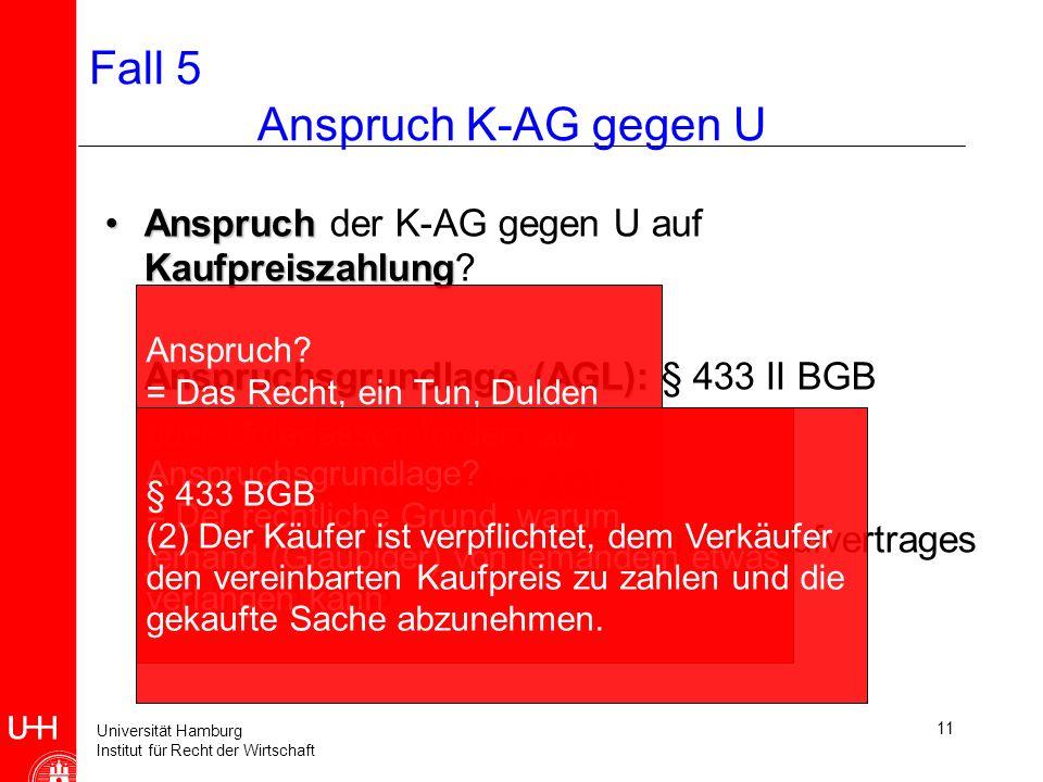 Universität Hamburg Institut für Recht der Wirtschaft 11 Fall 5 Anspruch K-AG gegen U Anspruch KaufpreiszahlungAnspruch der K-AG gegen U auf Kaufpreiszahlung.
