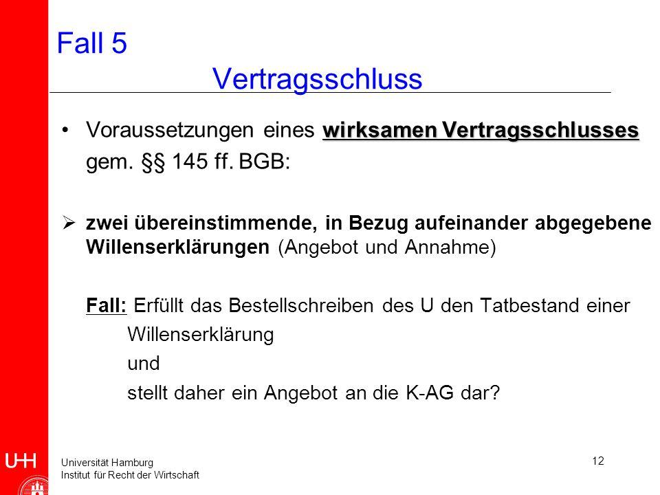 Universität Hamburg Institut für Recht der Wirtschaft 13 Fall 5 Willenserklärung WillensäußerungWillensäußerung, Herbeiführung einer Rechtsfolgedie auf Herbeiführung einer Rechtsfolge gerichtet ist Willenserklärung beinhaltet - objektiven Erklärungstatbestand - subjektiven