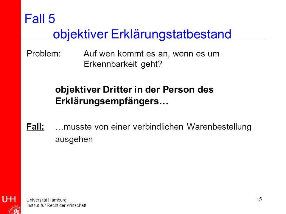 Universität Hamburg Institut für Recht der Wirtschaft 16 Fall 5 subjektiver Tatbestand einer Willenserklärung 1.