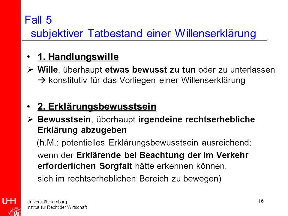 Universität Hamburg Institut für Recht der Wirtschaft 17 Fall 5 subjektiver Tatbestand einer Willenserklärung 3.