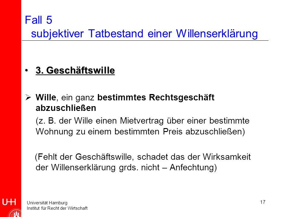 Universität Hamburg Institut für Recht der Wirtschaft 18 Fall 5 subjektiver Erklärungstatbestand HandlungsbewusstseinHandlungsbewusstsein (+) ErklärungsbewusstseinErklärungsbewusstsein .