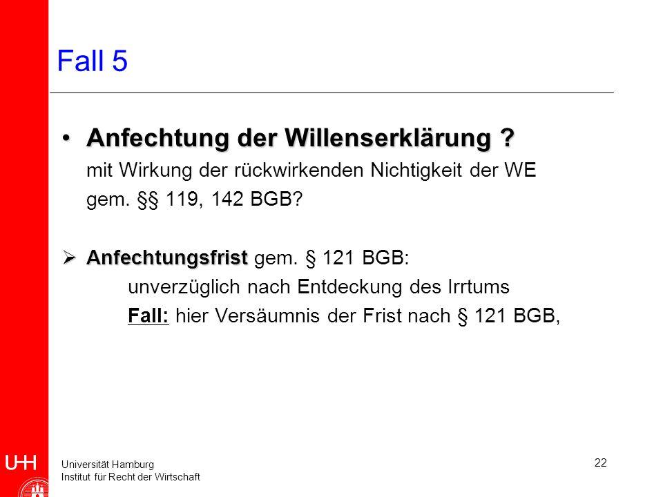 Universität Hamburg Institut für Recht der Wirtschaft 22 Fall 5 Anfechtung der Willenserklärung ?Anfechtung der Willenserklärung .