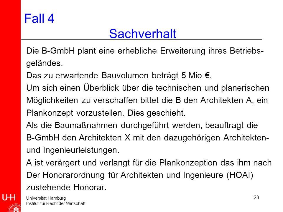 Universität Hamburg Institut für Recht der Wirtschaft 24 Fall 4 Honoraranspruch A gegen B-GmbH Vertragsschluss zwischen A und der B-GmbH.