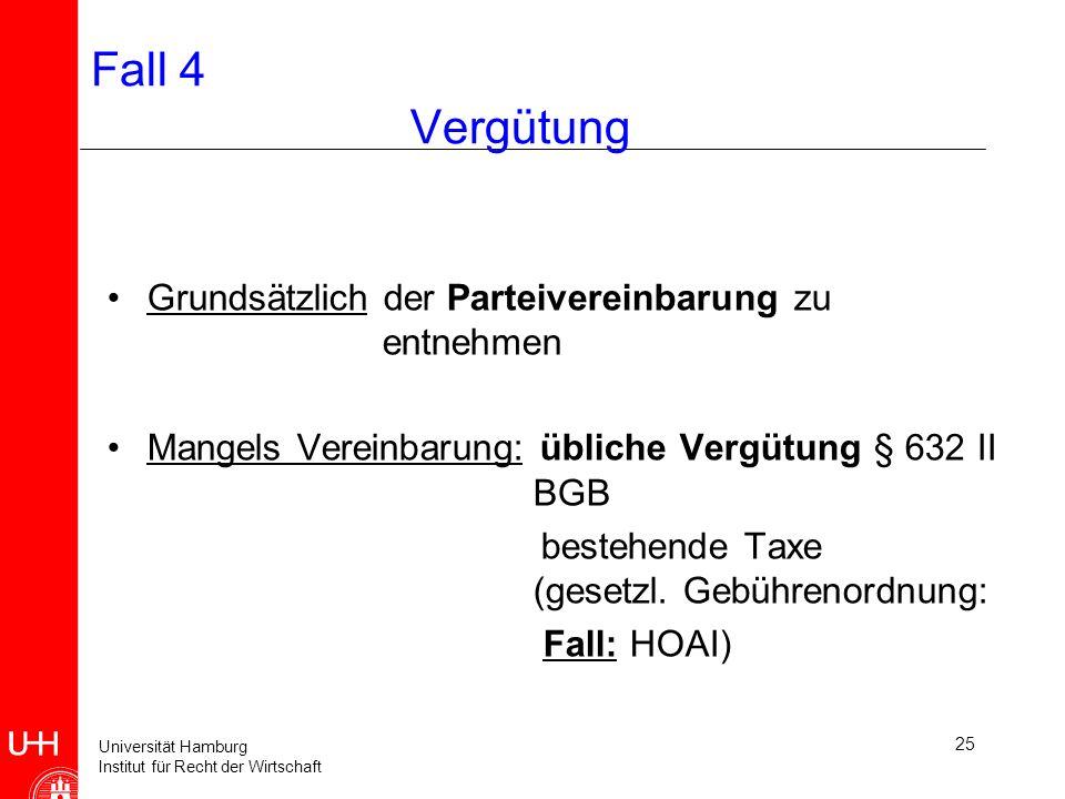 Universität Hamburg Institut für Recht der Wirtschaft 25 Fall 4 Vergütung Grundsätzlich der Parteivereinbarung zu entnehmen Mangels Vereinbarung: übliche Vergütung § 632 II BGB bestehende Taxe (gesetzl.