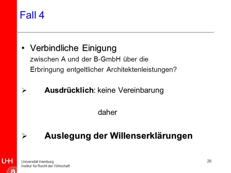 Universität Hamburg Institut für Recht der Wirtschaft 27 Fall 4 Auslegung von WEnEmpfangsbedürftigeWillenserklärung bei Verträgen : Antrag+Annahme bei Verträgen : Antrag+Annahme bei einigen einseitigen Rechts- geschäften bei einigen einseitigen Rechts- geschäften (wenn WE einem anderen gegenüber abzugeben ist - gem.