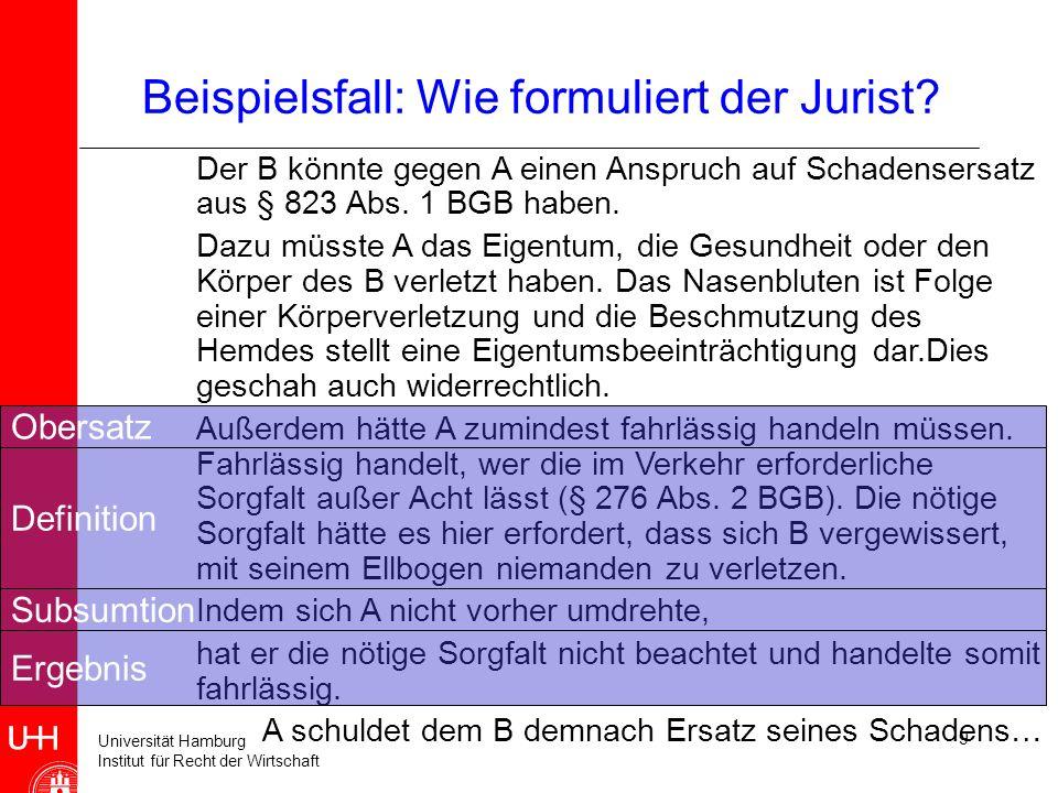 Universität Hamburg Institut für Recht der Wirtschaft 9 Beispielsfall: Wie formuliert der Jurist.