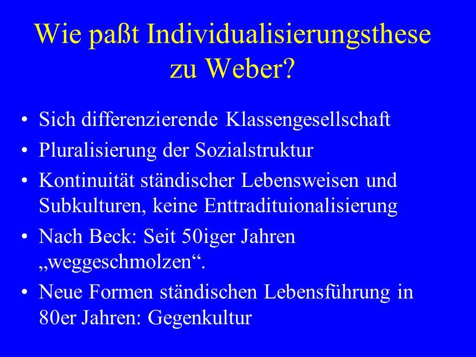 Wie paßt Individualisierungsthese zu Weber.