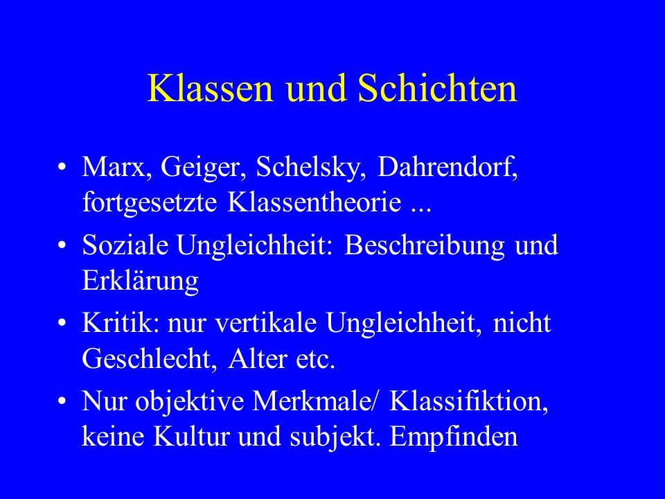 Klassen und Schichten Marx, Geiger, Schelsky, Dahrendorf, fortgesetzte Klassentheorie...