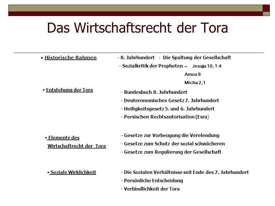 Das Wirtschaftsrecht der Tora Historische Rahmen - 8. Jahrhundert Die Spaltung der Gesellschaft - Sozialkritik der Propheten Jesaja 10, 1-4 Amos 8 Mic