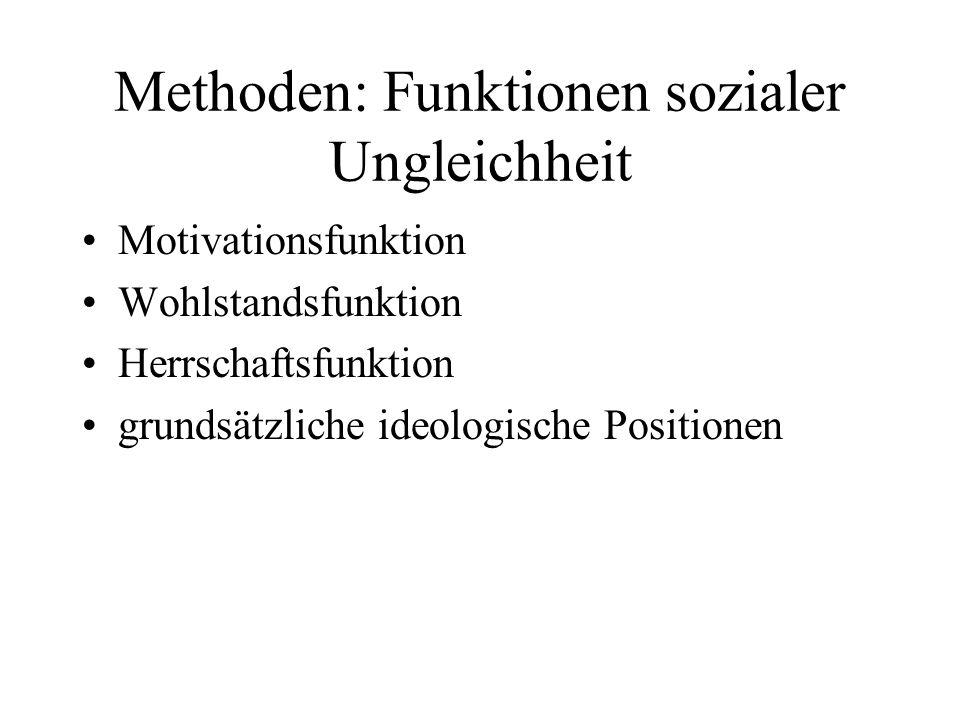 Methoden: Funktionen sozialer Ungleichheit Motivationsfunktion Wohlstandsfunktion Herrschaftsfunktion grundsätzliche ideologische Positionen