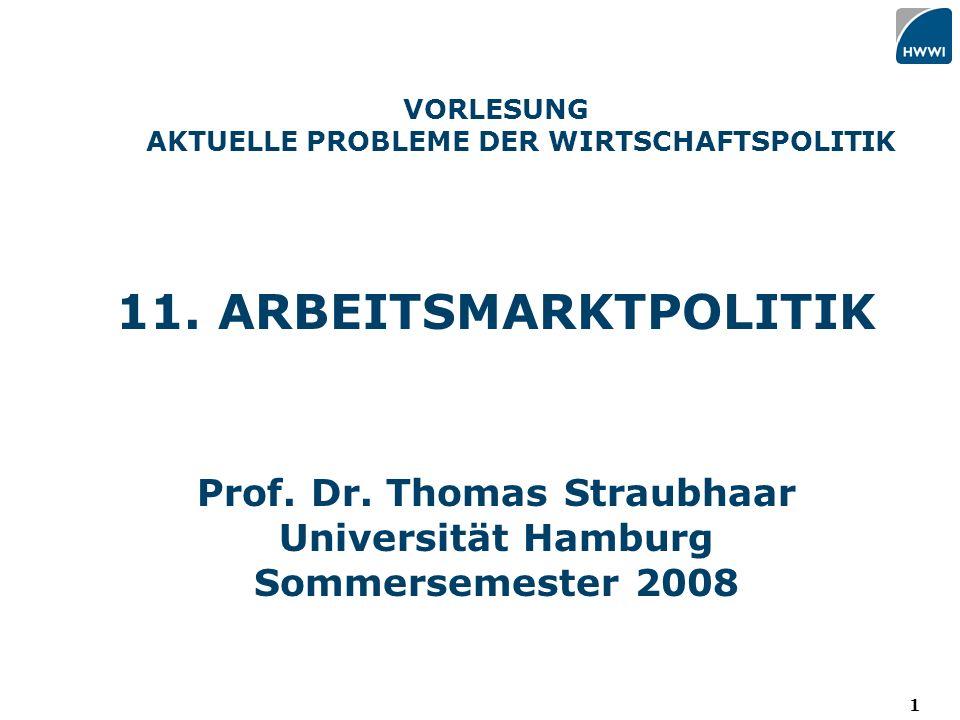 1 VORLESUNG AKTUELLE PROBLEME DER WIRTSCHAFTSPOLITIK 11.