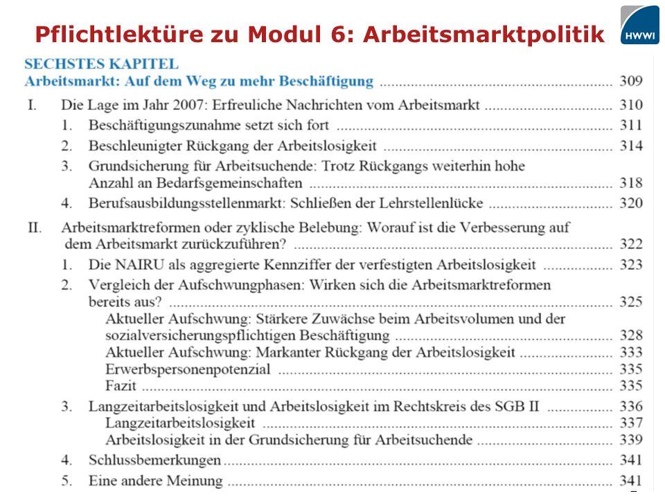 2 Pflichtlektüre zu Modul 6: Arbeitsmarktpolitik