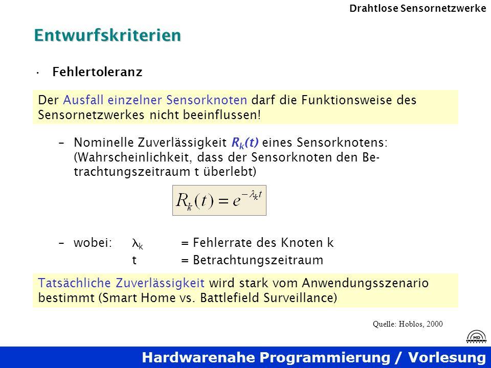 Hardwarenahe Programmierung / Vorlesung Drahtlose SensornetzwerkeEntwurfskriterien Fehlertoleranz –Nominelle Zuverlässigkeit R k (t) eines Sensorknote