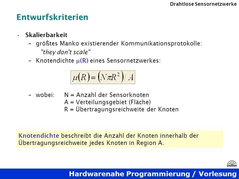 Hardwarenahe Programmierung / Vorlesung Drahtlose SensornetzwerkeEntwurfskriterien Skalierbarkeit –größtes Manko existierender Kommunikationsprotokoll