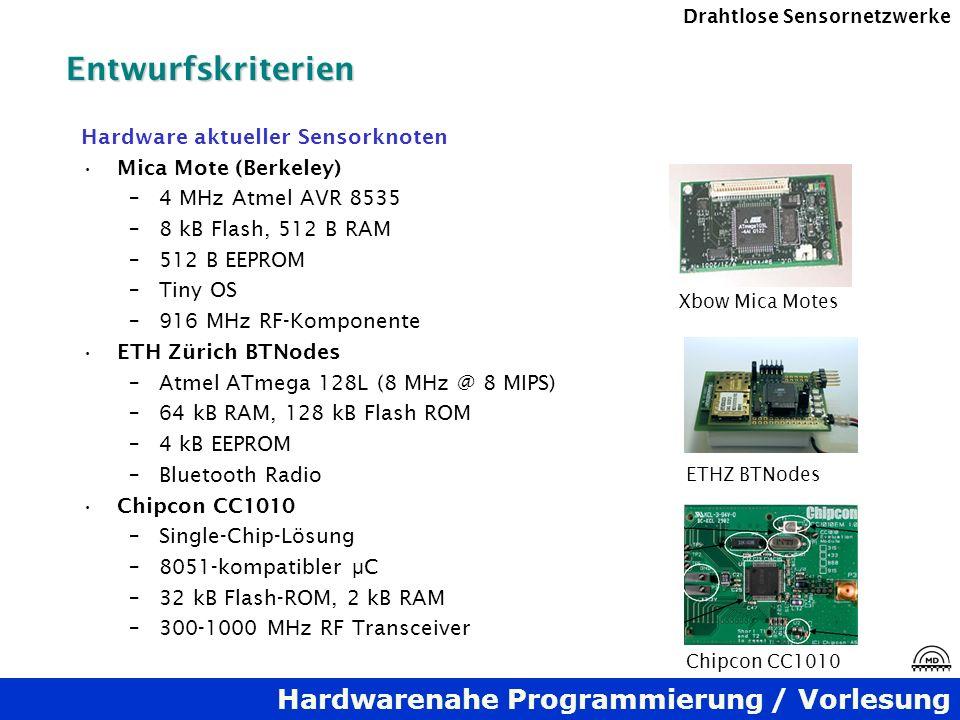 Hardwarenahe Programmierung / Vorlesung Drahtlose SensornetzwerkeEntwurfskriterien Hardware aktueller Sensorknoten Mica Mote (Berkeley) –4 MHz Atmel A