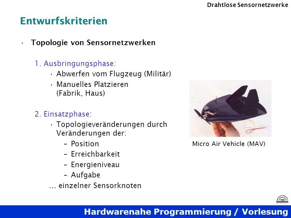 Hardwarenahe Programmierung / Vorlesung Drahtlose SensornetzwerkeEntwurfskriterien Topologie von Sensornetzwerken 1. Ausbringungsphase: Abwerfen vom F