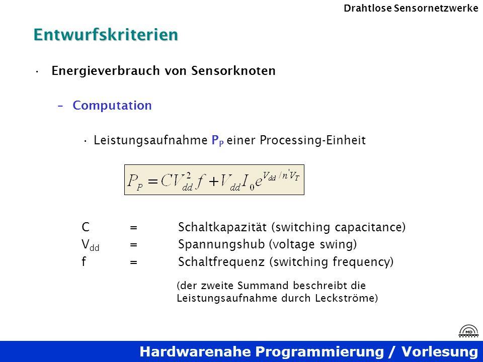 Hardwarenahe Programmierung / Vorlesung Drahtlose SensornetzwerkeEntwurfskriterien Energieverbrauch von Sensorknoten –Computation Leistungsaufnahme P
