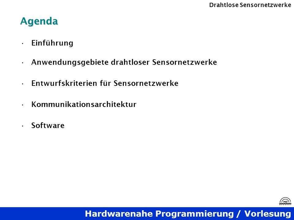 Hardwarenahe Programmierung / Vorlesung Drahtlose SensornetzwerkeAgenda Einführung Anwendungsgebiete drahtloser Sensornetzwerke Entwurfskriterien für
