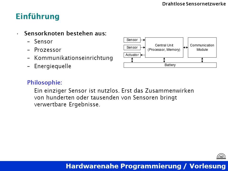 Hardwarenahe Programmierung / Vorlesung Drahtlose SensornetzwerkeEinführung Sensorknoten bestehen aus: –Sensor –Prozessor –Kommunikationseinrichtung –