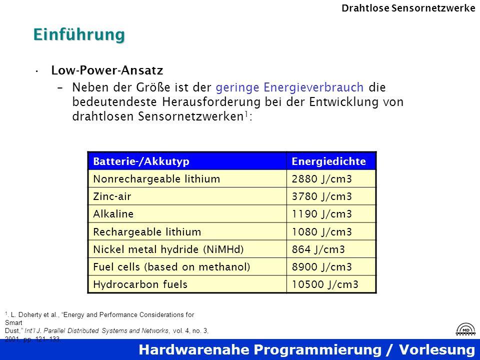 Hardwarenahe Programmierung / Vorlesung Drahtlose SensornetzwerkeEinführung Low-Power-Ansatz –Neben der Größe ist der geringe Energieverbrauch die bed