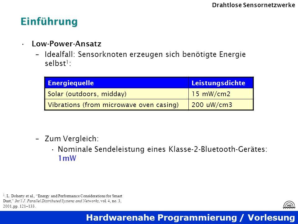 Hardwarenahe Programmierung / Vorlesung Drahtlose SensornetzwerkeEinführung Low-Power-Ansatz –Idealfall: Sensorknoten erzeugen sich benötigte Energie