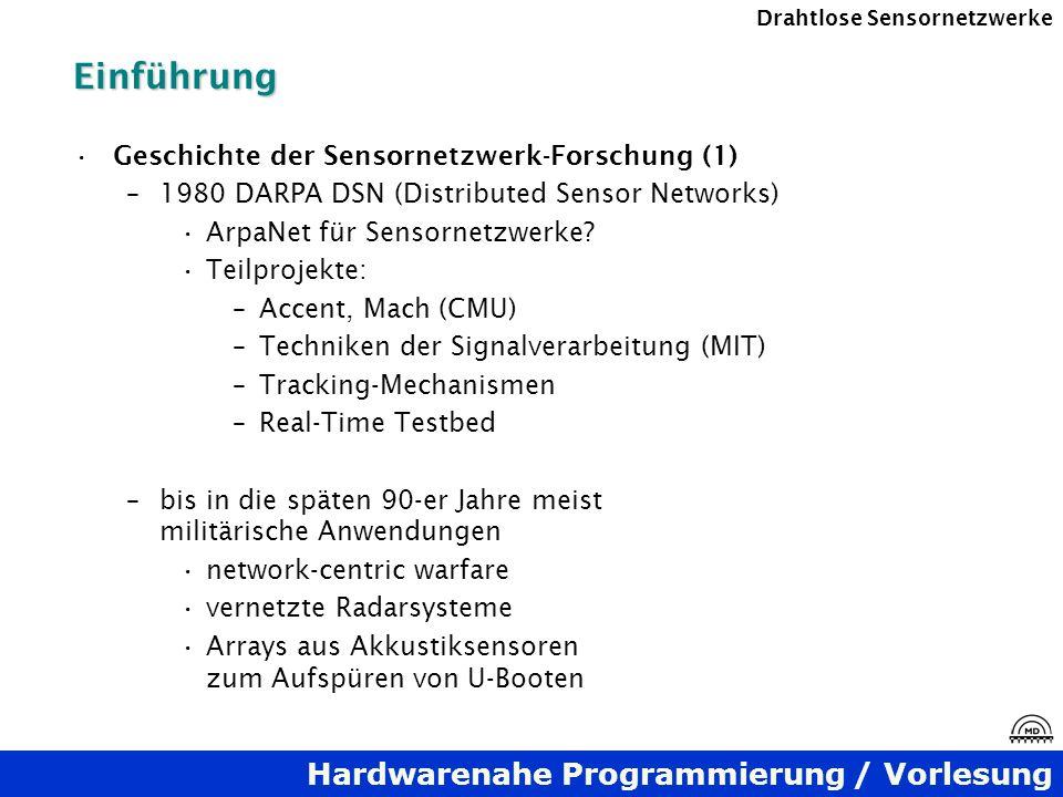Hardwarenahe Programmierung / Vorlesung Drahtlose SensornetzwerkeEinführung Geschichte der Sensornetzwerk-Forschung (1) –1980 DARPA DSN (Distributed S