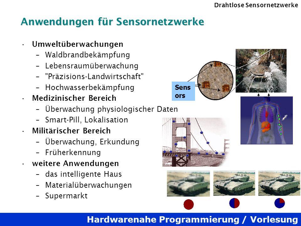 Hardwarenahe Programmierung / Vorlesung Drahtlose Sensornetzwerke Anwendungen für Sensornetzwerke Umweltüberwachungen –Waldbrandbekämpfung –Lebensraum