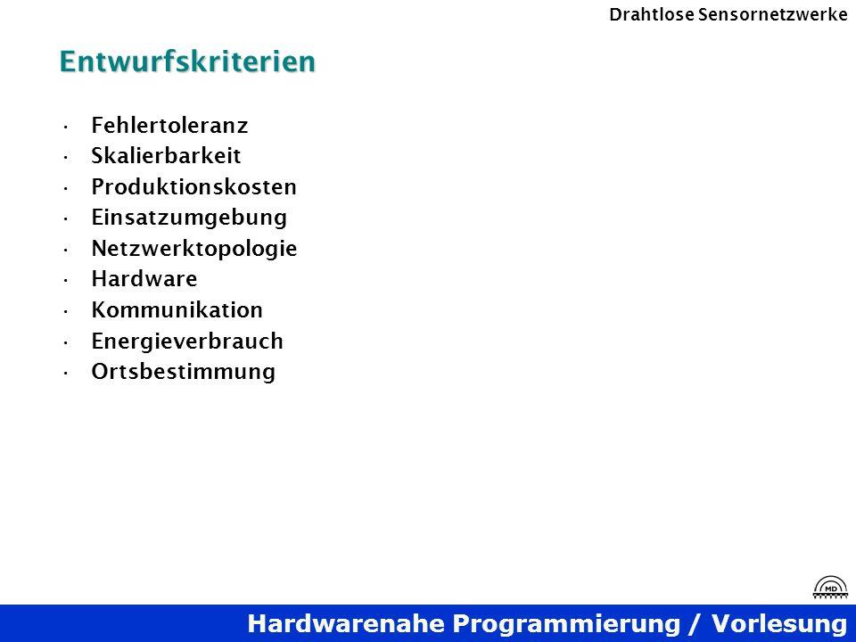 Hardwarenahe Programmierung / Vorlesung Drahtlose SensornetzwerkeEntwurfskriterien Fehlertoleranz Skalierbarkeit Produktionskosten Einsatzumgebung Net
