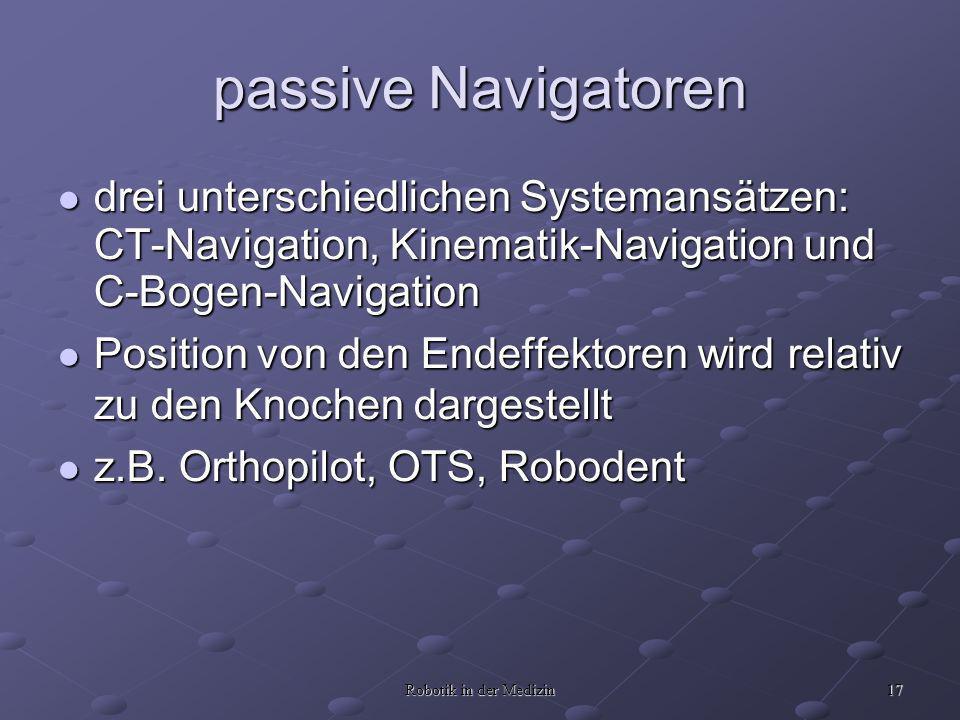 17 Robotik in der Medizin drei unterschiedlichen Systemansätzen: CT-Navigation, Kinematik-Navigation und C-Bogen-Navigation drei unterschiedlichen Sys