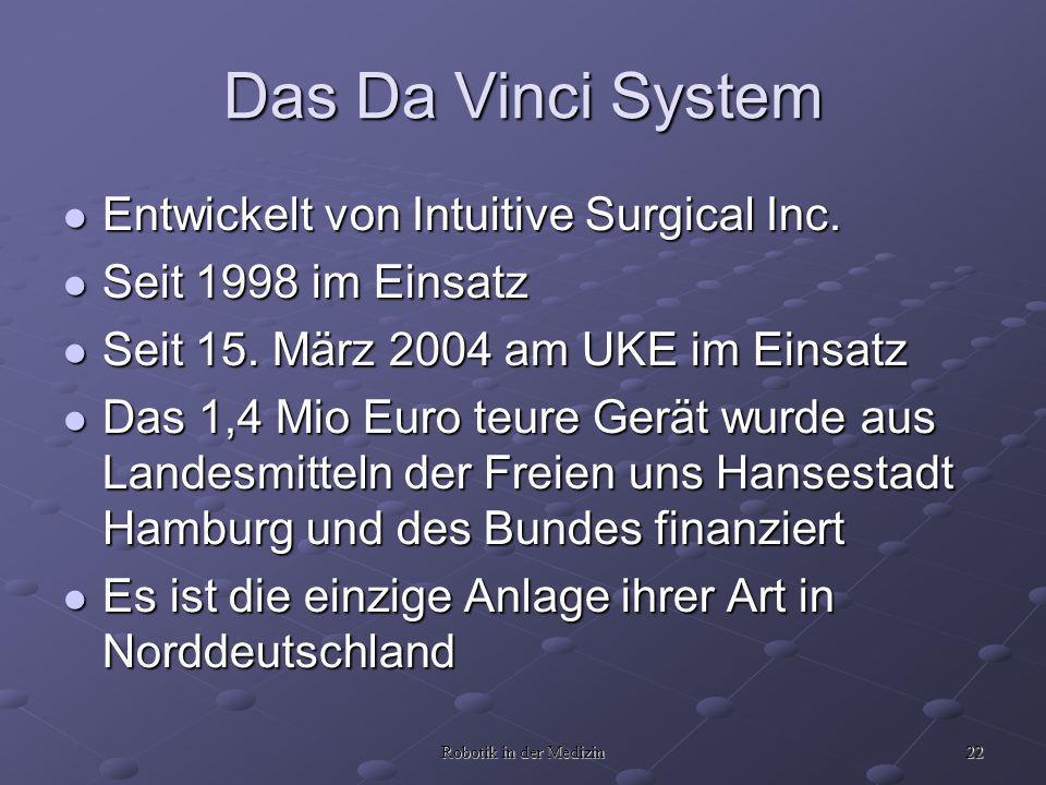 22 Robotik in der Medizin Das Da Vinci System Entwickelt von Intuitive Surgical Inc. Entwickelt von Intuitive Surgical Inc. Seit 1998 im Einsatz Seit