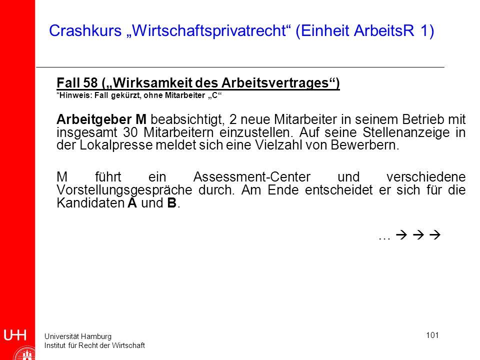 Universität Hamburg Institut für Recht der Wirtschaft 101 Crashkurs Wirtschaftsprivatrecht (Einheit ArbeitsR 1) Fall 58 (Wirksamkeit des Arbeitsvertra